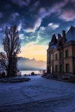 Hunegg Castle, Hilterfingen, Switzerland, dusk