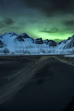 Preview iPhone wallpaper Iceland, Northern lights, mountains, night