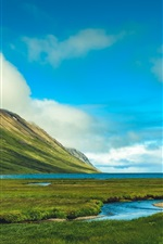 Preview iPhone wallpaper Iceland, beautiful nature landscape, mountains, grass, sea, clouds
