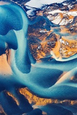 Preview iPhone wallpaper Iceland, top view, aerial photography