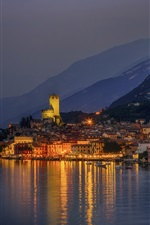 Italy, Malcesine, mountains, houses, lights, night