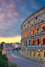 Preview iPhone wallpaper Italy, Rome, Colosseum, road, street, lights