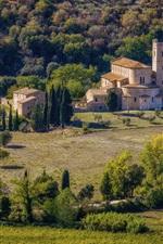 Itália, tuscany, casas, árvores, campos, colina