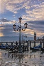 Preview iPhone wallpaper Italy, Venice, gondola boats, lantern, river, dusk
