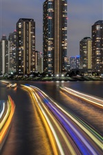 Preview iPhone wallpaper Japan, Tokyo, city night, bridge, river, lights