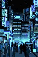 Preview iPhone wallpaper Japan, city street, pixel art