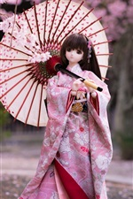 Preview iPhone wallpaper Japanese style doll girl, kimono, umbrella, sakura bloom