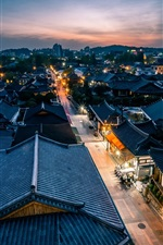 Preview iPhone wallpaper Jeonju, South Korea, night, houses, lights