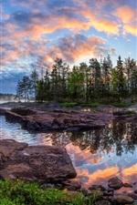 iPhone fondos de pantalla Kiiminki, Finlandia, árboles, río, paisaje de naturaleza hermosa
