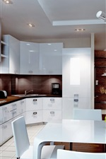 Preview iPhone wallpaper Kitchen, white style, dining room, interior
