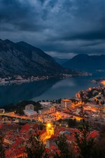 Preview iPhone wallpaper Kotor, Montenegro, bay, fjord, city, houses