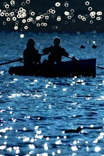 Preview iPhone wallpaper Lake, boat, people, glare, shine