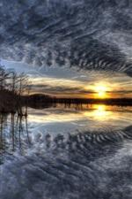 Vorschau des iPhone Hintergrundbilder See, Bäume, Wolken, Sonnenaufgang, Morgen