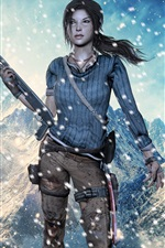 Preview iPhone wallpaper Lara Croft, Tomb Raider, snowy mountains