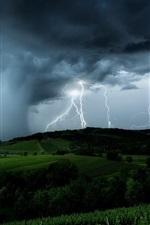 iPhone обои Молния, черные облака, шторм, поля