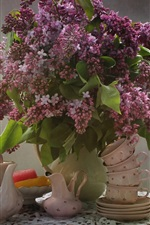 Preview iPhone wallpaper Lilac flowers, tea cup, tea kettle