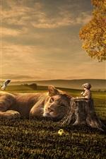 Preview iPhone wallpaper Lion, baby, friends, grass, tree, bird, creative design