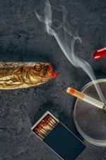 Preview iPhone wallpaper Lipstick, fish, cigarette, smoke