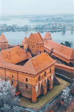 Preview iPhone wallpaper Lithuania, Trakai, Island Castle, trees, lake