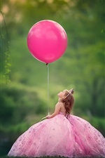 Preview iPhone wallpaper Little child girl play a pink balloon