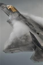 Preview iPhone wallpaper Lockheed Martin F-22A Raptor flight, smoke