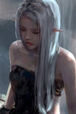 Preview iPhone wallpaper Long hair girl, elf, window, art painting