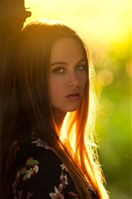 Preview iPhone wallpaper Long hair girl, look at you, tree, backlight