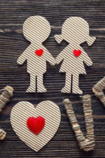 Preview iPhone wallpaper Love, girl and boy, paper, art