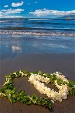 Preview iPhone wallpaper Love heart flowers, beach, sea
