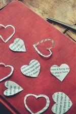 Preview iPhone wallpaper Love hearts, book, scissors