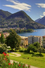 Preview iPhone wallpaper Lugano, lake, city, houses, mountains, Ticino, Switzerland
