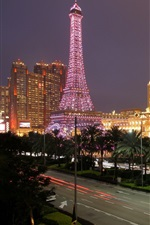 Preview iPhone wallpaper Macau, city night, tower, lights