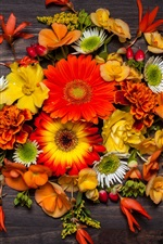 Many flowers, table