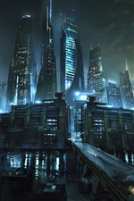 Preview iPhone wallpaper Maze Runner: The Death Cure, city, river, skyscrapers