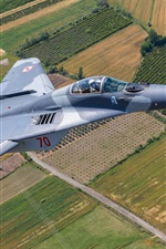 Preview iPhone wallpaper MiG-29A multi-role fighter, sky, fields