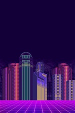 Preview iPhone wallpaper Minimalism art picture, city, skyscrapers, 8 bit pixels