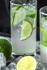 Mojito, two glass cups, drinks, limes, ice cubes
