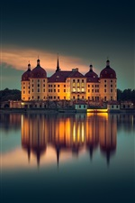Preview iPhone wallpaper Moritzburg, Germany, evening, lake, buildings, lights, night