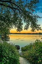 Morning, lake, flowers, boats