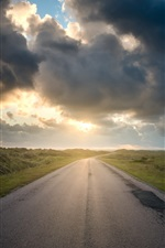 Preview iPhone wallpaper Morning, road, grass, sunrise, clouds