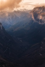Preview iPhone wallpaper Mountains, canyon, darkness, clouds