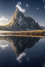 Preview iPhone wallpaper Mountains, lake, water reflection, grass
