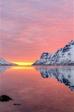 Mountains, snowy, river, red sky, sunset