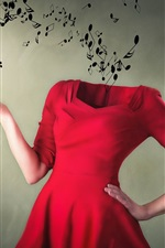 Preview iPhone wallpaper Music, red skirt, hands, creative picture