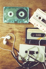 Preview iPhone wallpaper Music theme, headphones, cassettes, retro