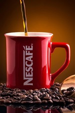 Preview iPhone wallpaper Nescafe, coffee, coffee beans, red cup