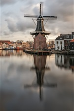 Preview iPhone wallpaper Netherlands, Haarlem, river, windmill, houses, boats