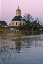 Preview iPhone wallpaper Netherlands, church, houses, boats, grass, river