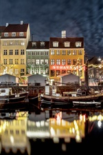 Preview iPhone wallpaper Netherlands, city, boats, river, night, lights