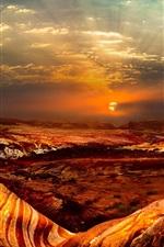 Preview iPhone wallpaper Nevada, USA, nature landscape, rocks, desert, clouds, sunset